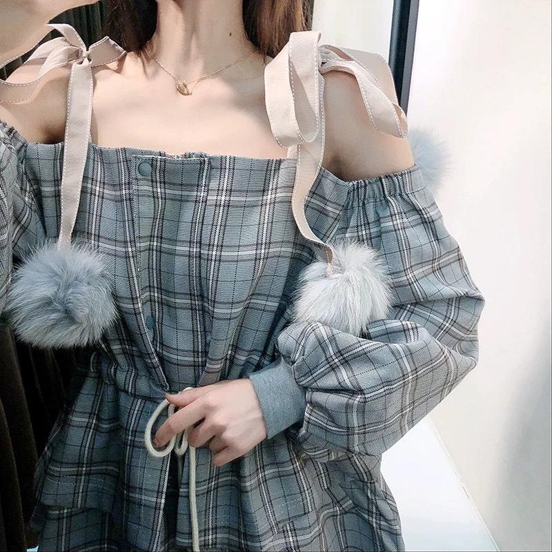 fur ribbon check dress