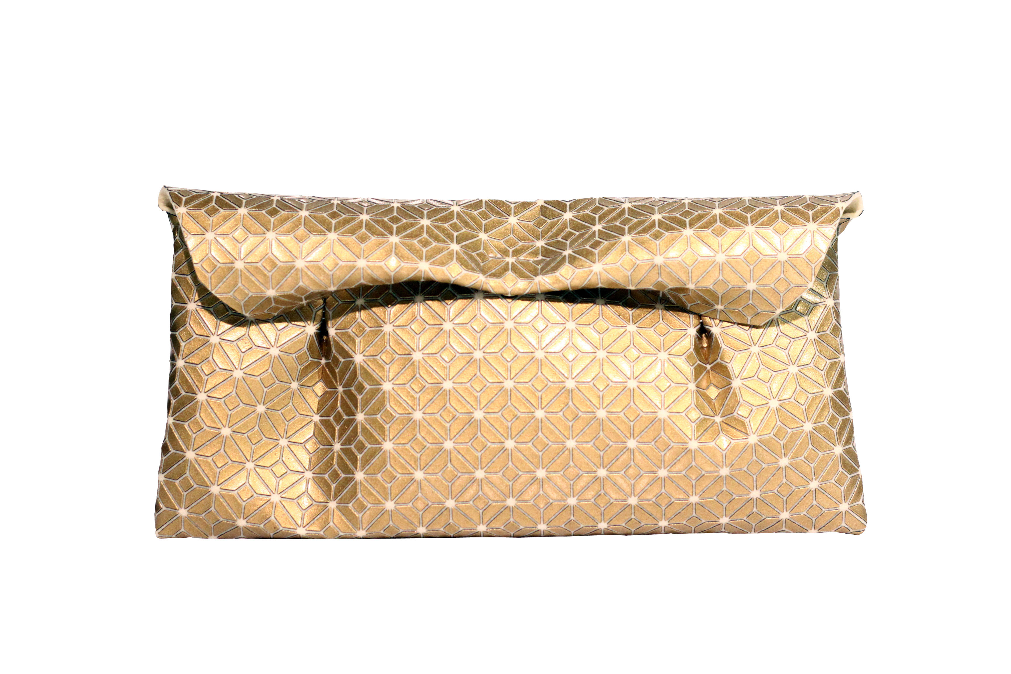 FUKUSA CLUTCH/GOLD WHITE