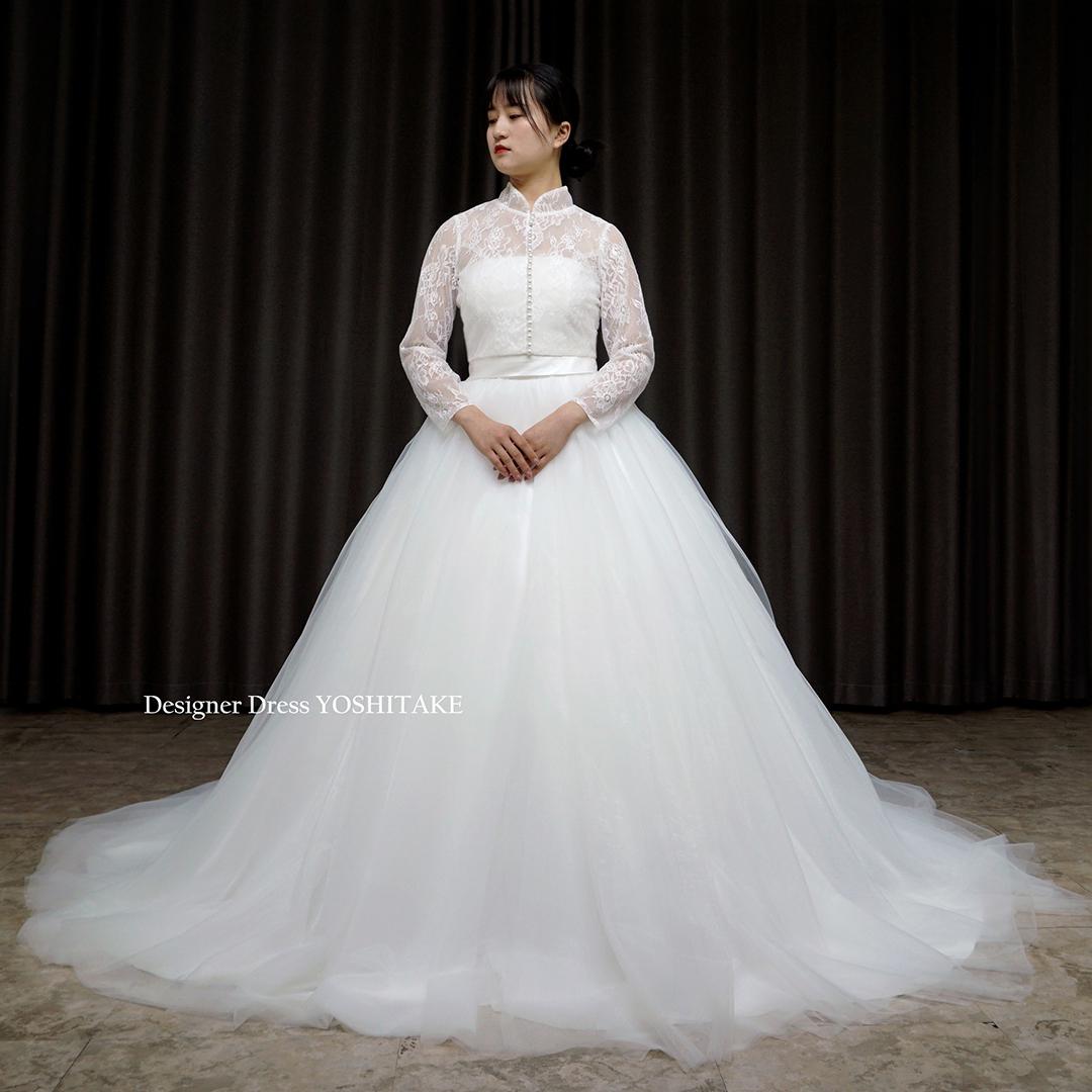 【オーダー制作】ウエディングドレス(無料パニエ) 気になる二の腕カバー♪ウエディングボレロ(長袖)結婚・挙式・二次会・前撮り・撮影※制作期間3週間から6週間