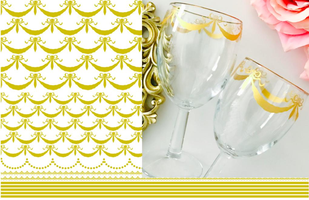 【ガラス用】リボンガーランド&ライン転写紙 ゴールド