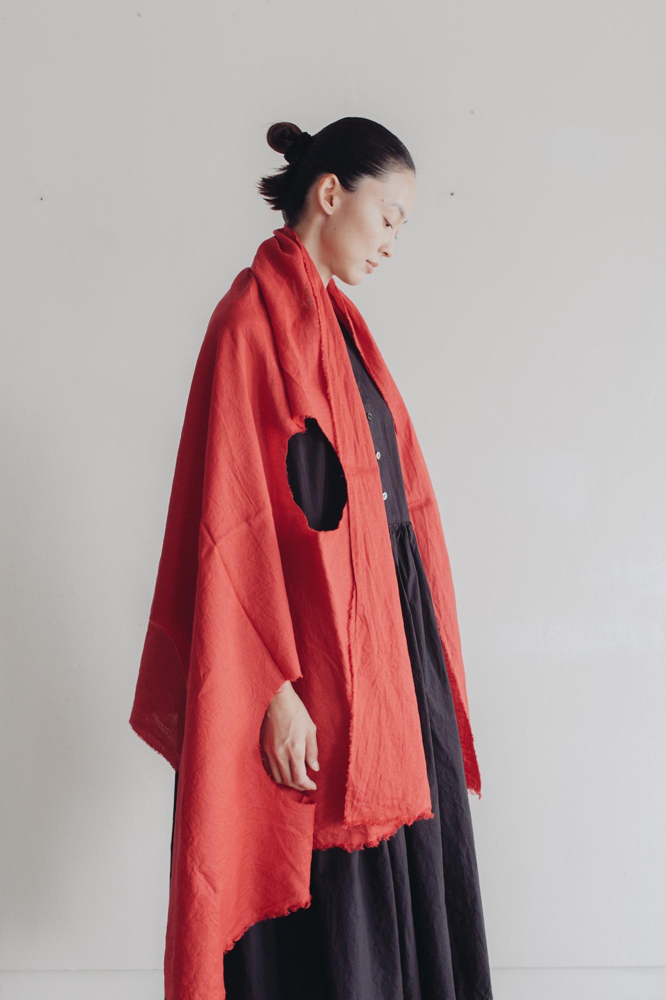 0157-2 80 linen dot cut stole / red