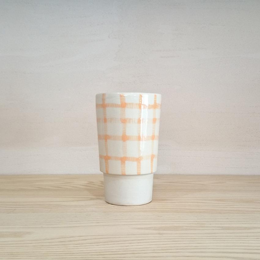 陶器 ギンガム オレンジ