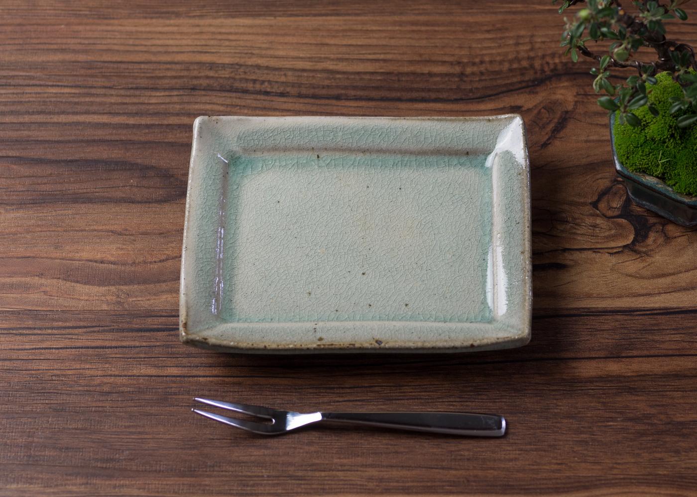 灰釉 粉引 角小皿 4/くるり窯