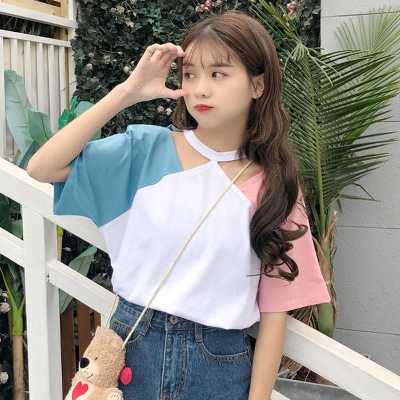 【tops】レトロラウンドネック透かし彫りTシャツ19318389