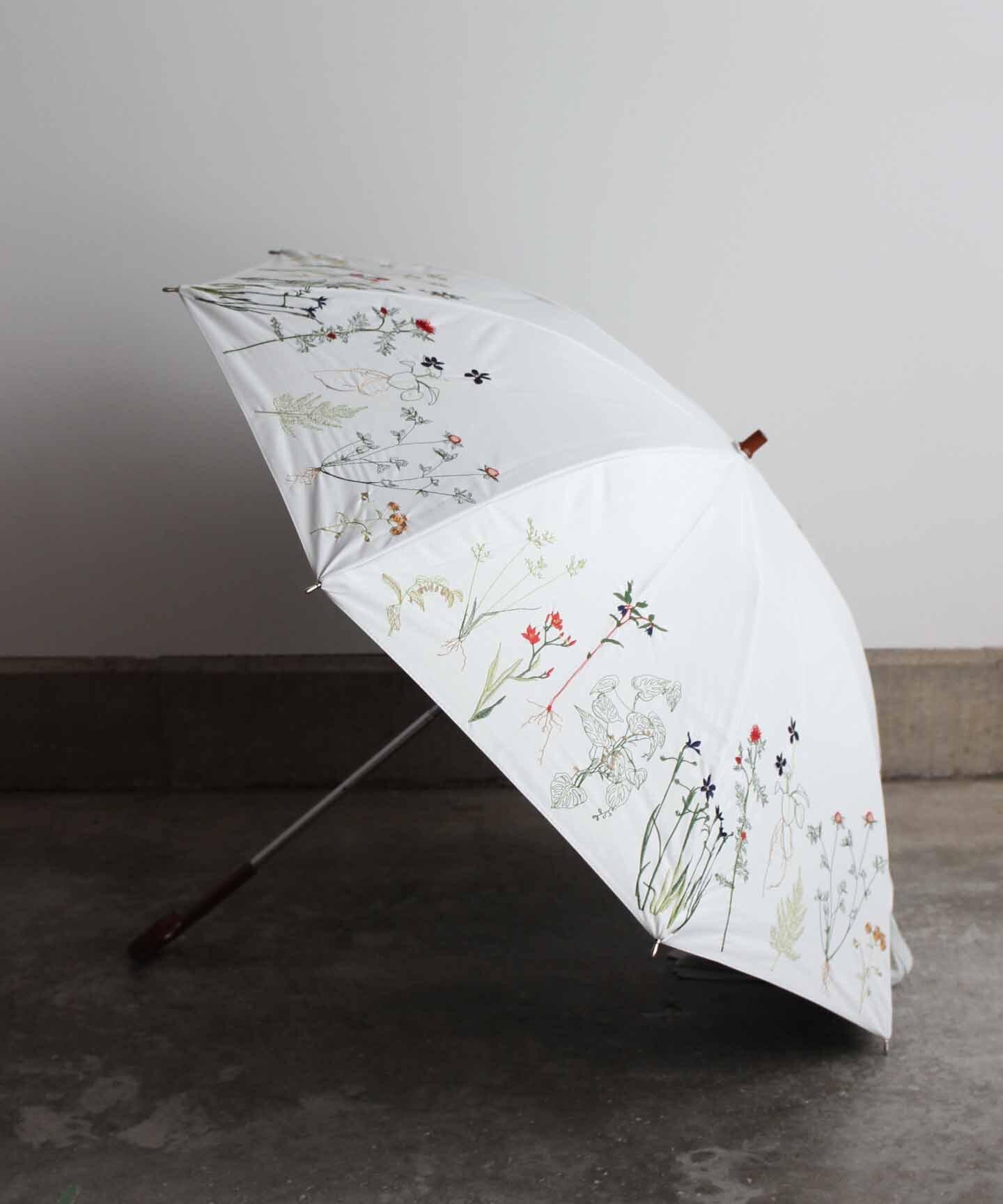 【ボタニカル刺繍】雨天兼用日傘 (ELS47 WHT/ホワイト)