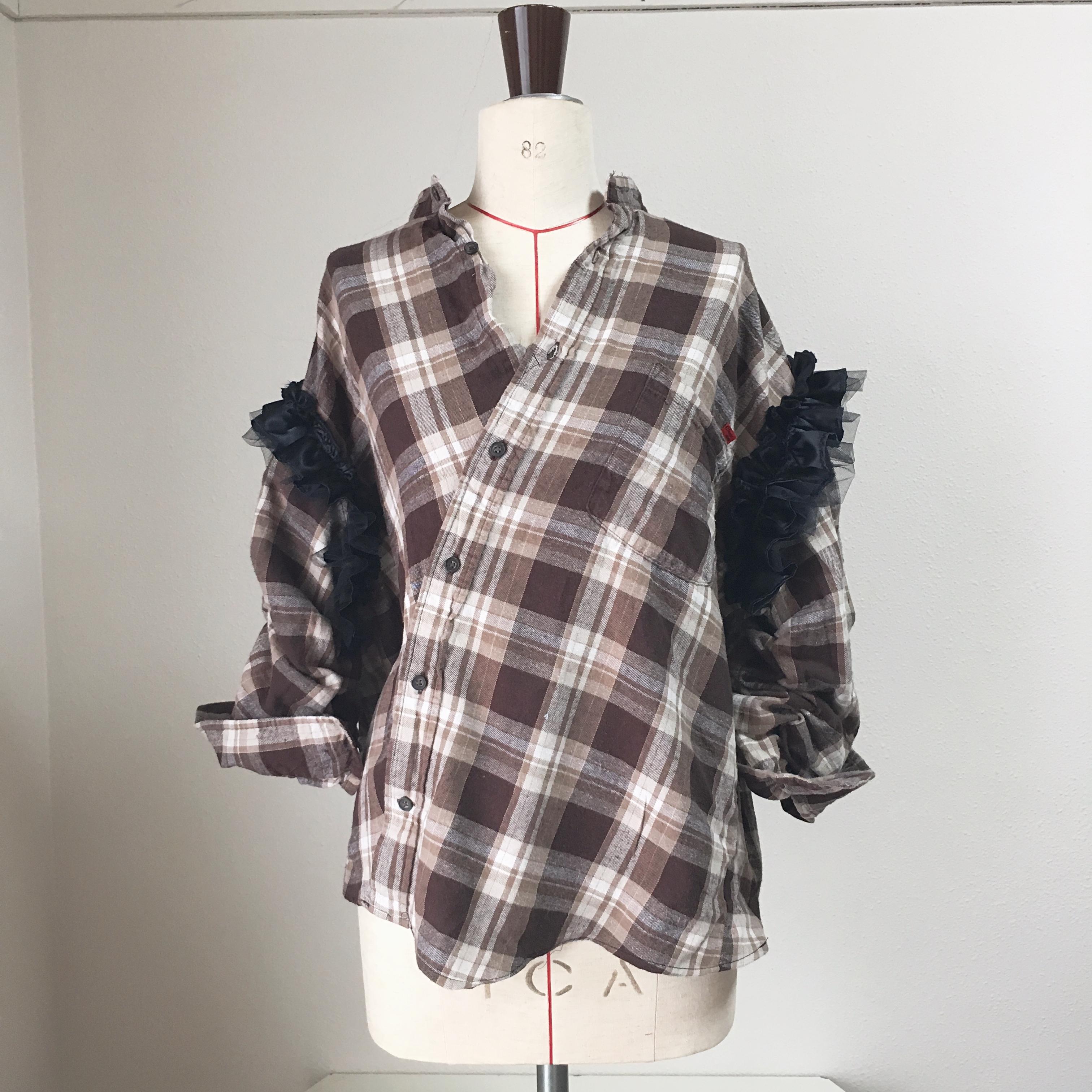 ネルシャツフリル袖