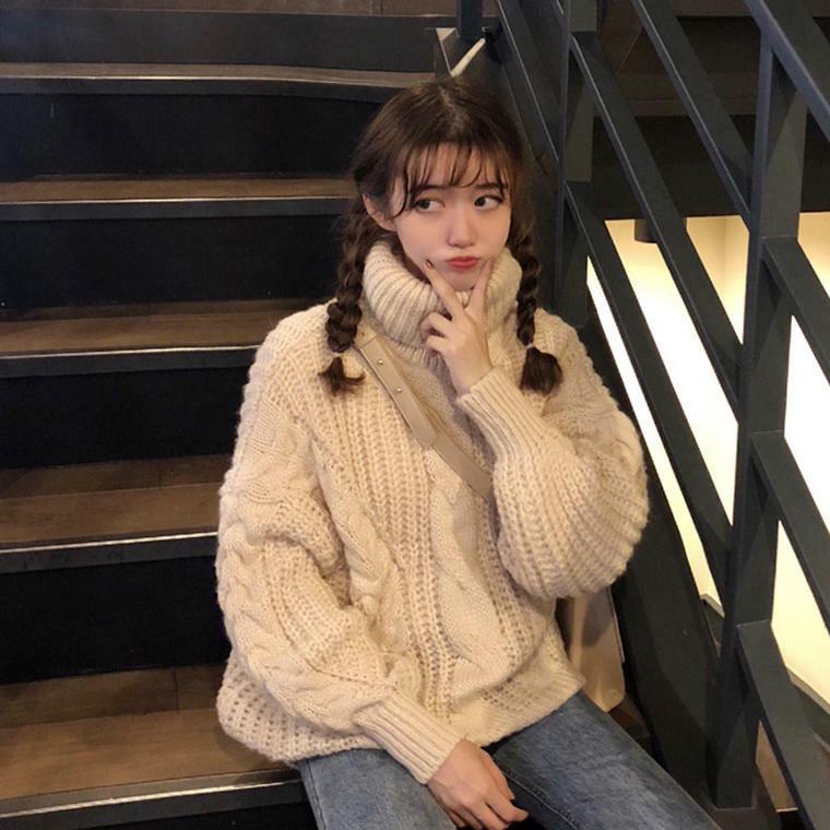 【送料無料】 ざっくりニット♡ プルオーバー ケーブル編み タートルネック ニット トップス カップルコーデ セーター