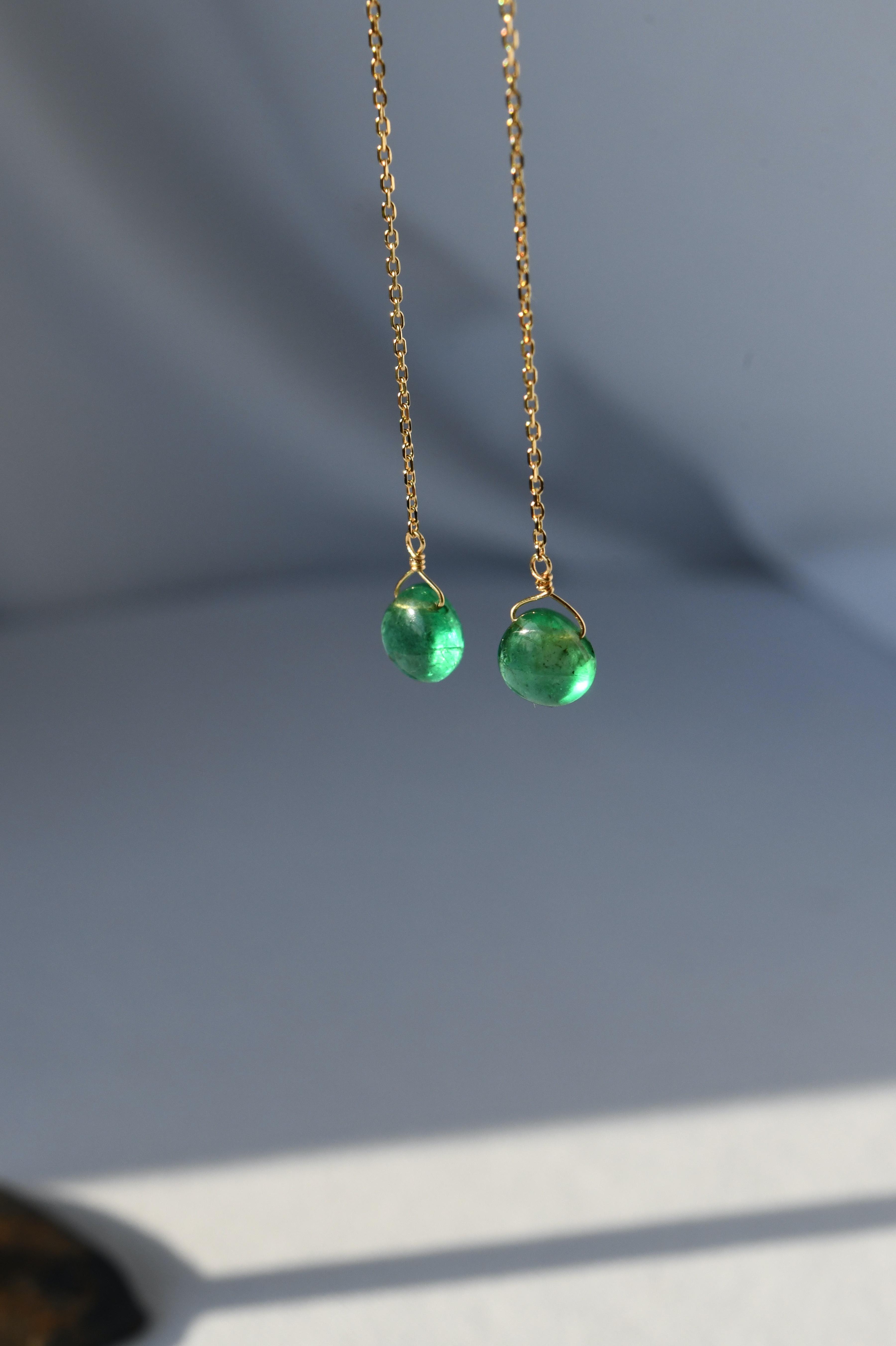 K18 Emerald Chain Earrings 18金エメラルドチェーンピアス/イヤリング
