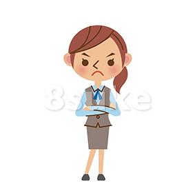 イラスト素材:怒った表情のOL・事務スタッフ(ベクター・JPG)