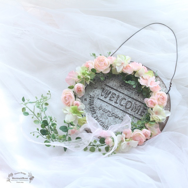 花冠ラナンキュラス&スイトピー&アジサイ(ピンク)* バックガーランド付【L】