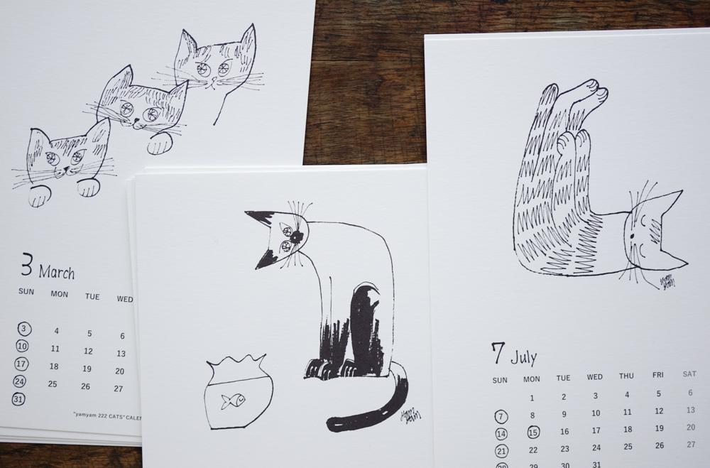"""yamyam / yamyamKIKAKU 2019年カレンダー """"yamyam 222 CATS"""""""
