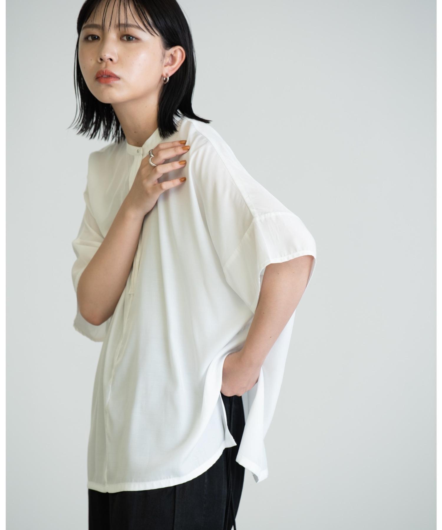 5分袖とろみブラウス/WHT