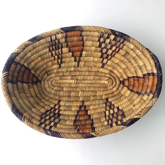 モロッコ 編み込み楕円バスケットL (柄) W37cm