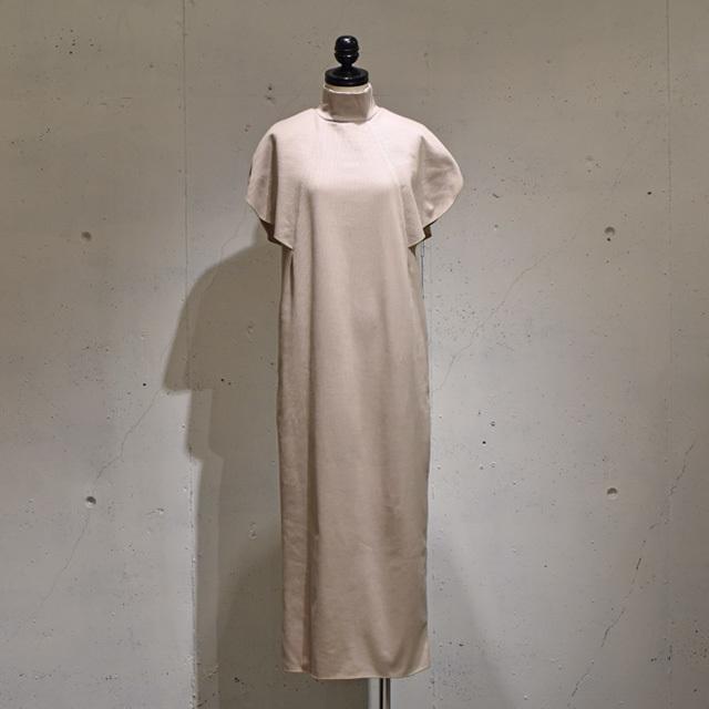 Mannequins JAPON / ROUND SLEEVE RIB DRESS / Nude Beige