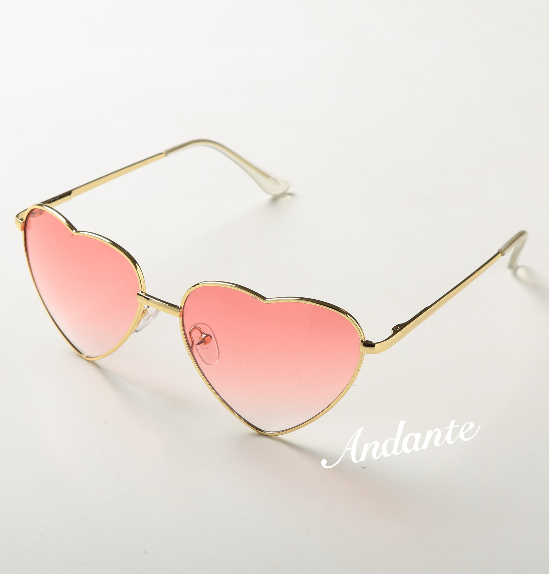 ハート♡型UVミラーサングラス【ピンク】