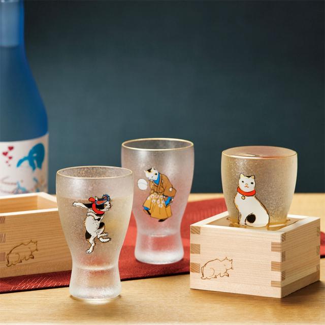 (168) 江戸猫ぐらす 江戸猫枡酒グラス 歌川国芳浮世絵 BOX入り 日本酒グラス 冷酒グラス ガラス食器 ギフト 父の日 日本製