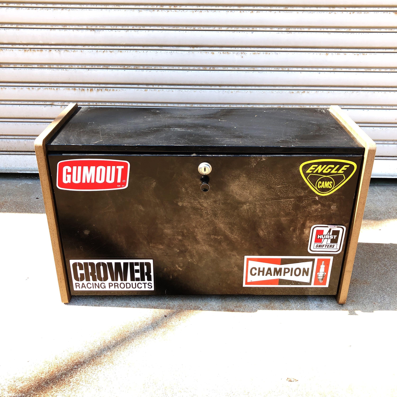 品番5933 工具ケース ブラック 木枠 鍵付き インテリア ディスプレイ ヴィンテージ