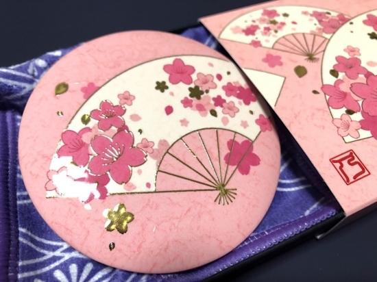 【手鏡】和柄レトロ/四季花 金彩手鏡《春花~桜~》