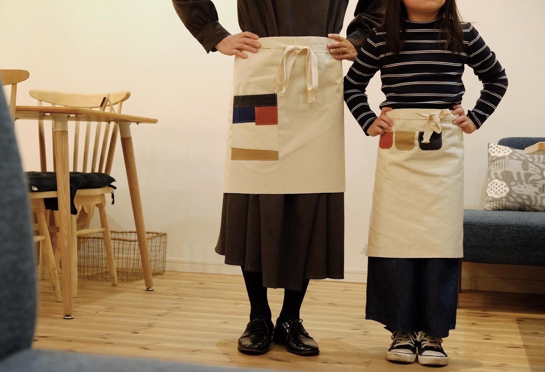 手縫いでつくるエプロンキット(親子セット)
