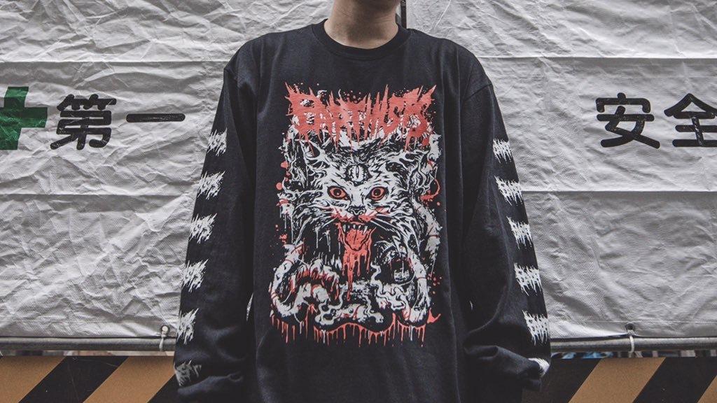 """DEATH CAT"" Long Sleeve T-Shirts - 画像1"