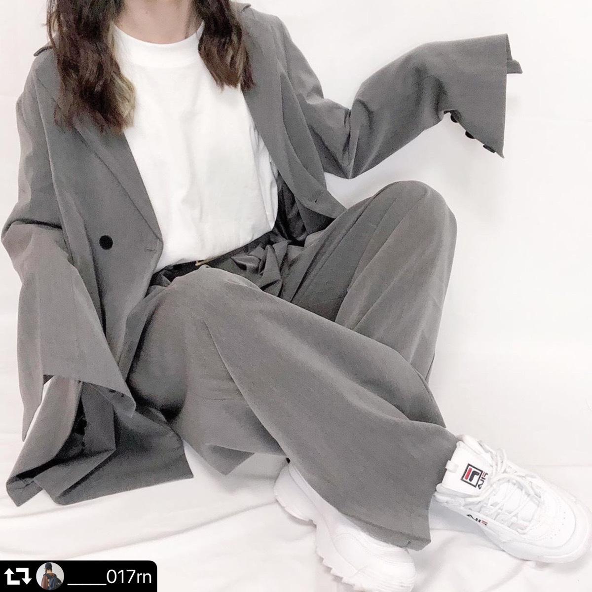 【送料無料】 大人見えマニッシュ♡ ジャケット × ワイドパンツ 大人カジュアル きれいめ スーツ 2点セット