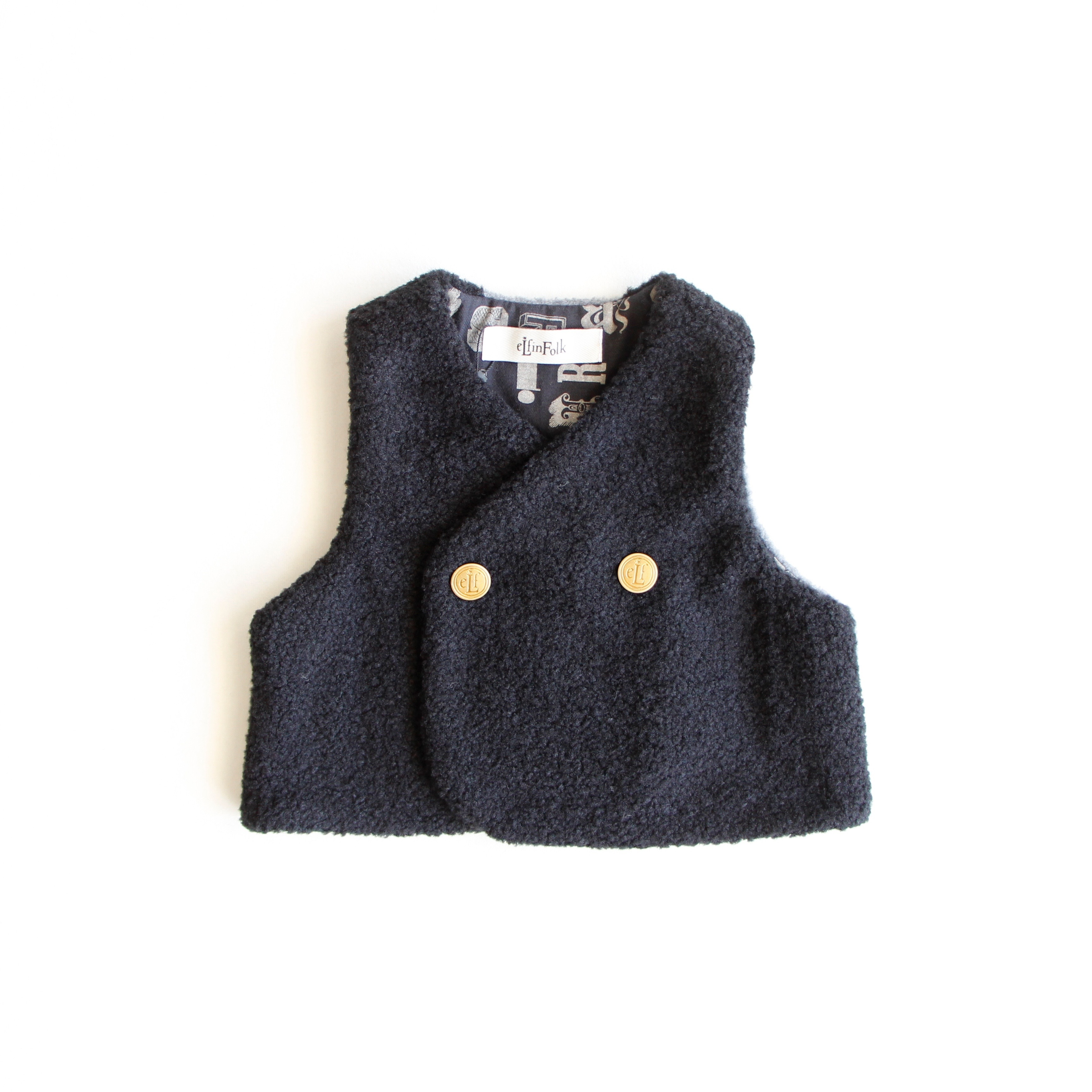 《eLfinFolk 2018AW》sheep boa  baby vest / black / 80-100cm