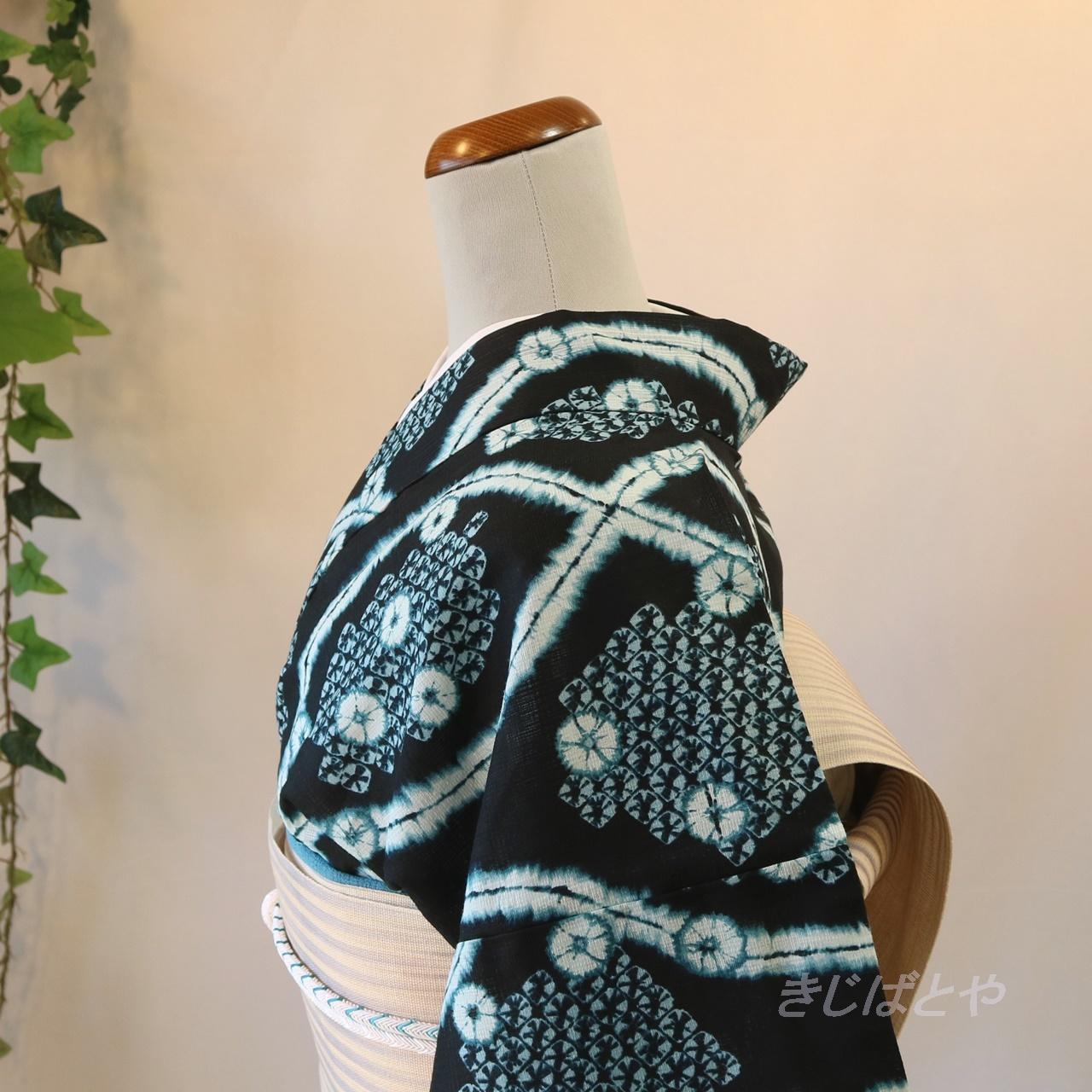 綿麻 青褐に絞り風の浴衣