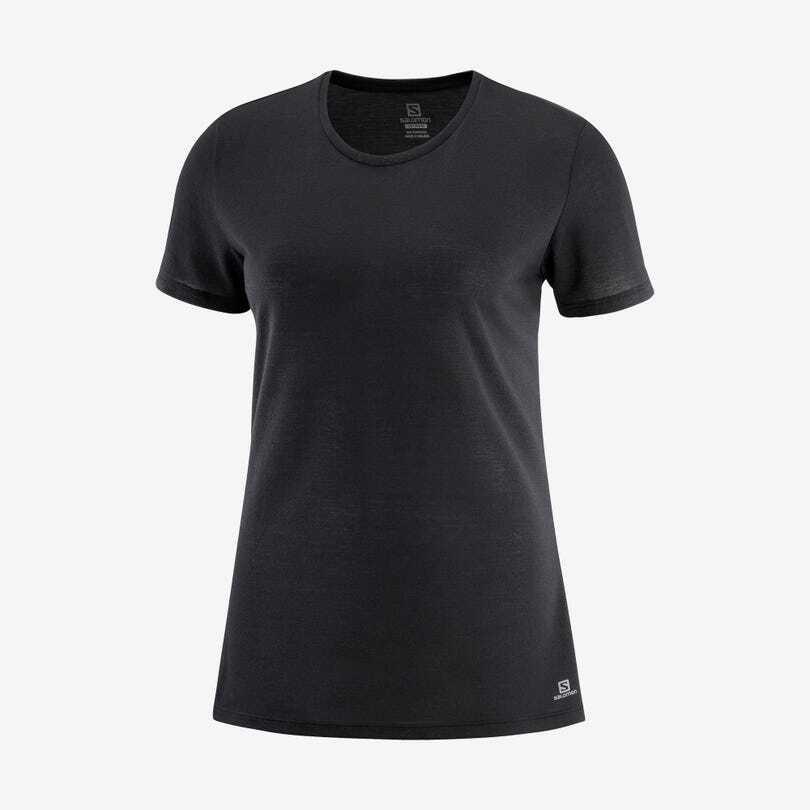 Salomon サロモン COMET SHORT SLEEVE TEE W MARTINI   BLACK / Heather ウィメンズ/レディース コメットシェイプド 半袖Tシャツ ブラック/ヘザー LC1536500