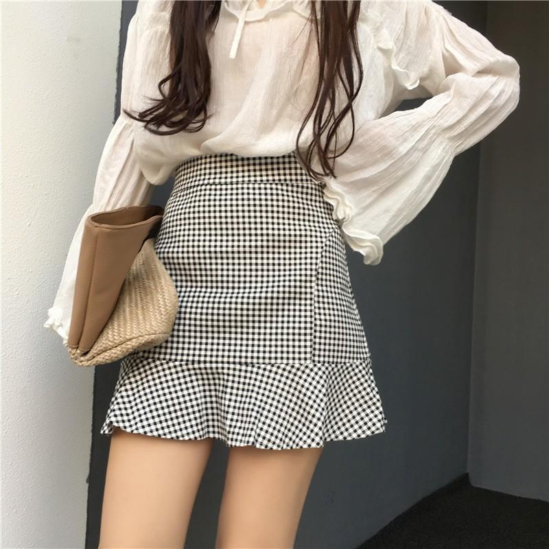 【bottoms】 チェック柄カジュアルハイウエストAラインスカート12869703