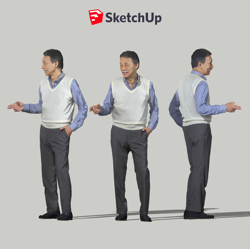 SketchUp素材 3D人物モデル ( Posed ) 049_Ken - 画像1