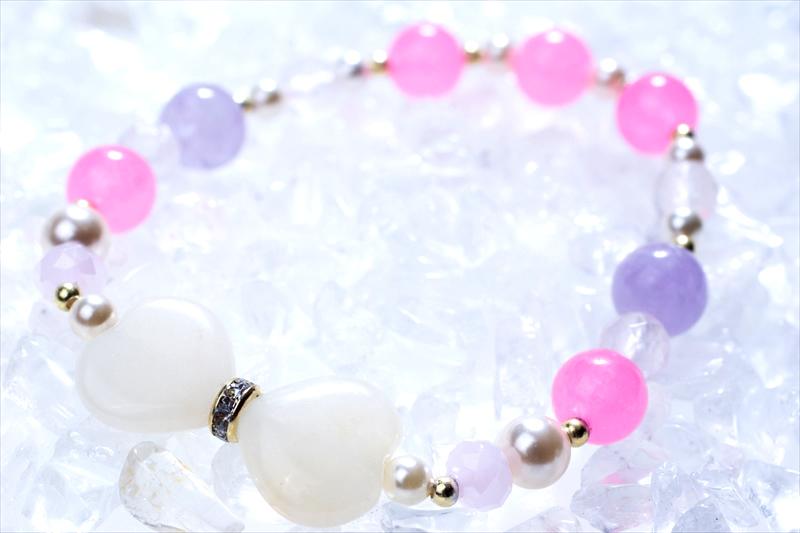 pinky ribon【パワーストーンブレスレット 】 - 画像1