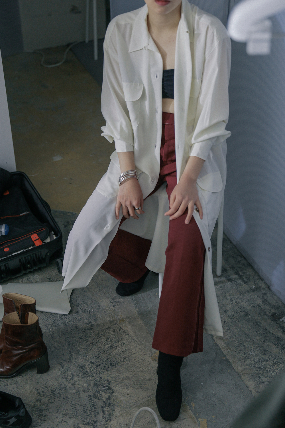 80's Unknow Brand / Italy White Rayon Coat