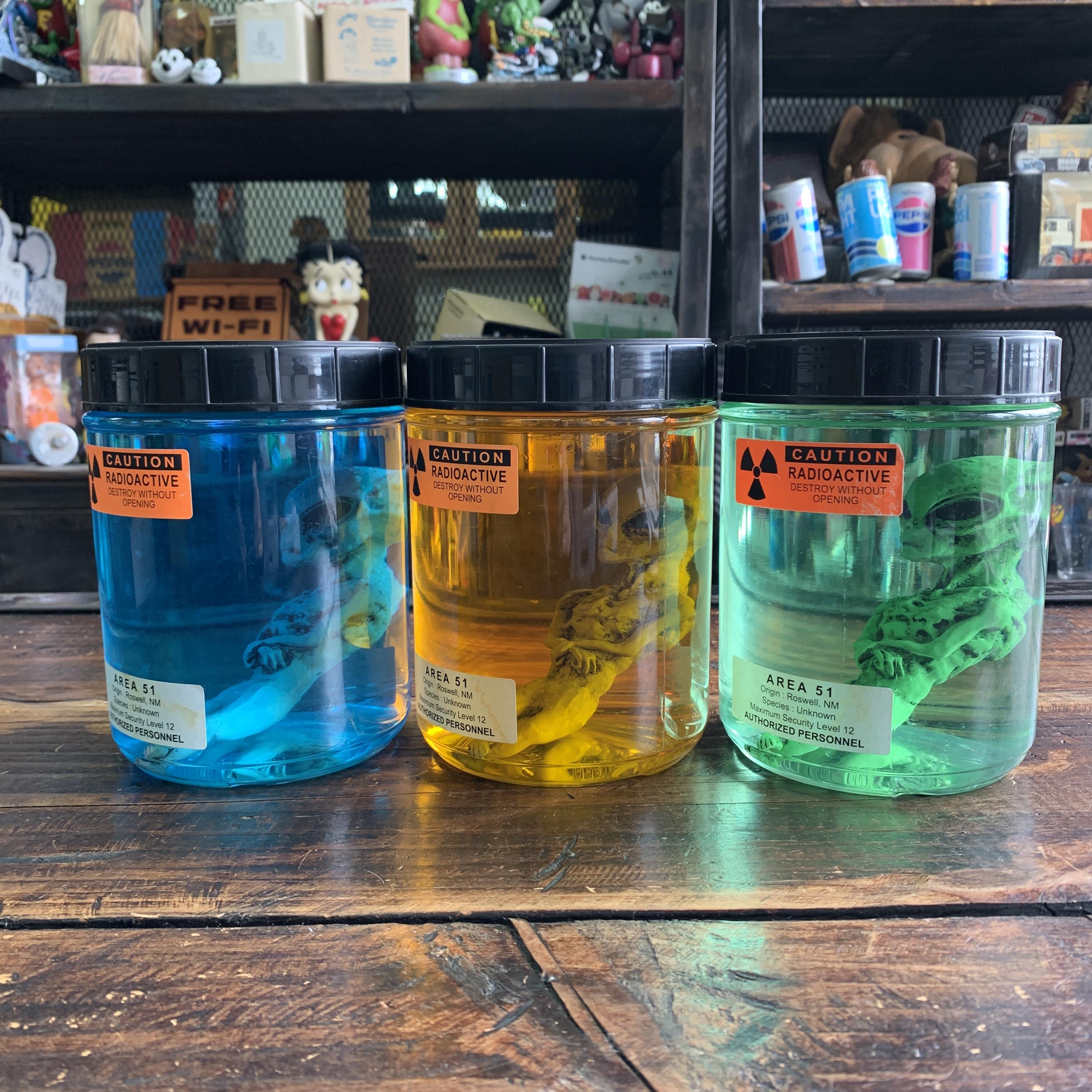 【USAボトル】エリア51・エイリアンのホルマリン漬け【3色セット】