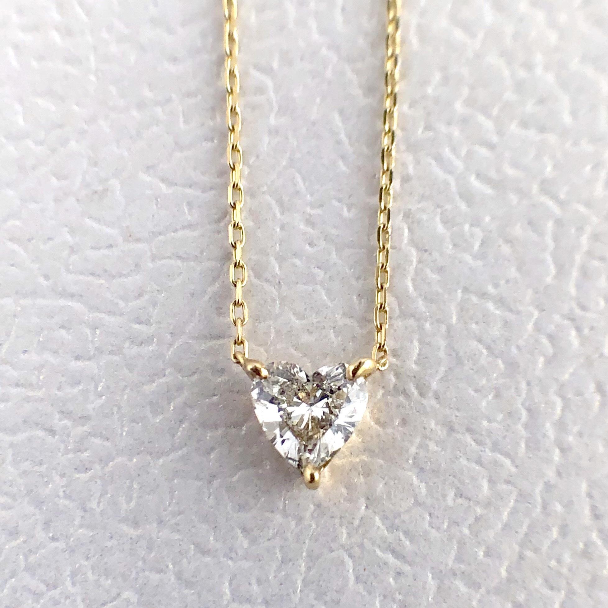 ハートシェイプカット ダイヤモンド ネックレス 0.20ct K18イエローゴールド  チェカ 鑑別書付