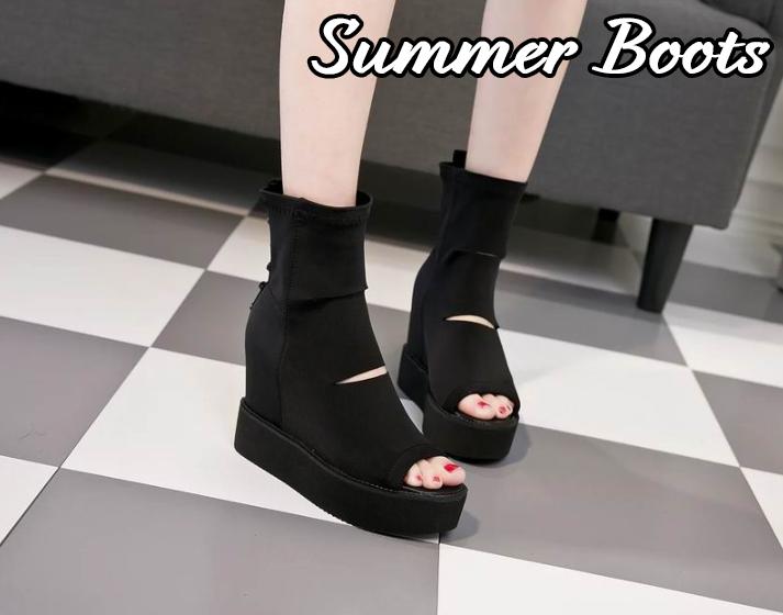 2019夏新作 サマーブーツ ブーツサンダル 無地 厚底ショートブーツ 女性用 レディース 美脚 透かし彫り インヒール オープントゥサンダル