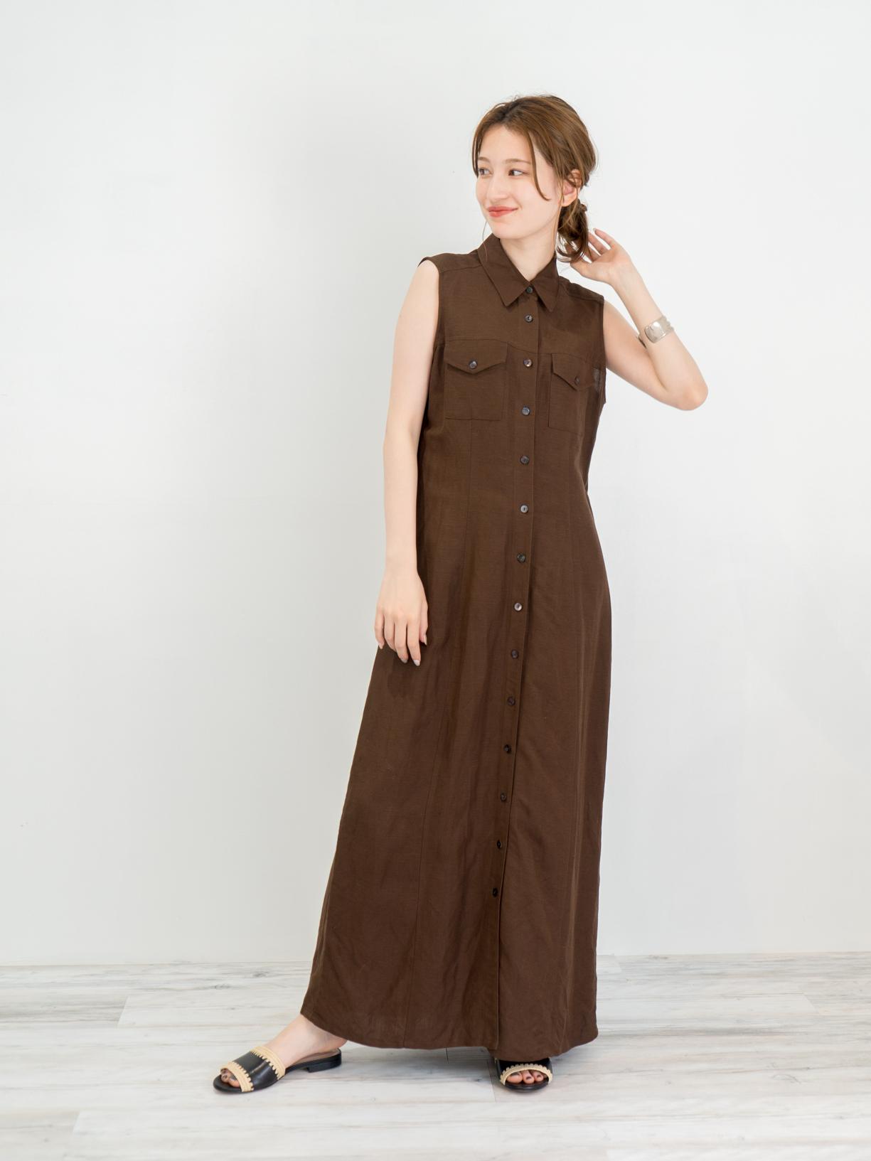 ◼︎90s shirts style linen maxi dress from U.S.A◼︎