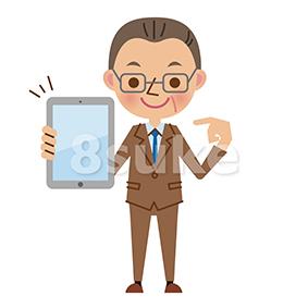 イラスト素材:タブレット端末を持つ中年のビジネスマン(ベクター・JPG)