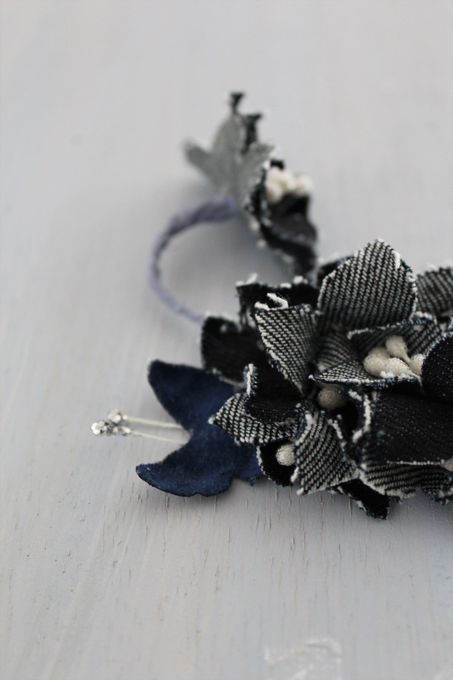 デニム生地の花と星、パールのイヤーフック(英 Denim) 右耳用