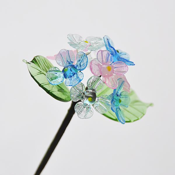 グラスフラワー あじさい(2枚の葉/3色の花)