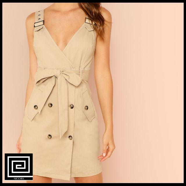 アジャスタブルストラップポケットサイドベルトドレス