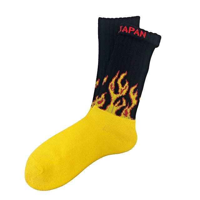 """Fire Burning -yellow-"" Socks"