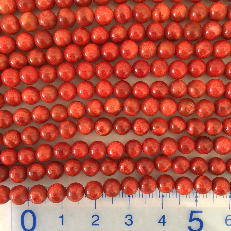 スポンジサンゴ 約5~5.5mm 中間色~濃 連材【190008B】