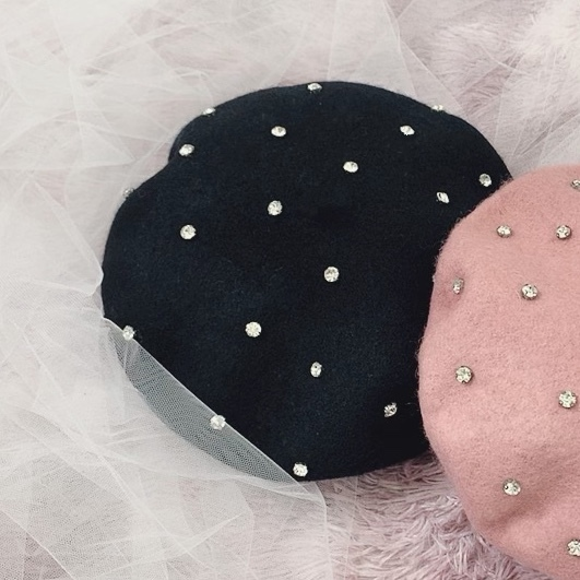 【即納】ラインストーンベレー帽
