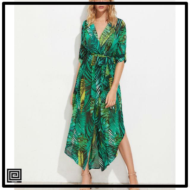 オールオーバーパームリーフプリントカーブシャツドレス