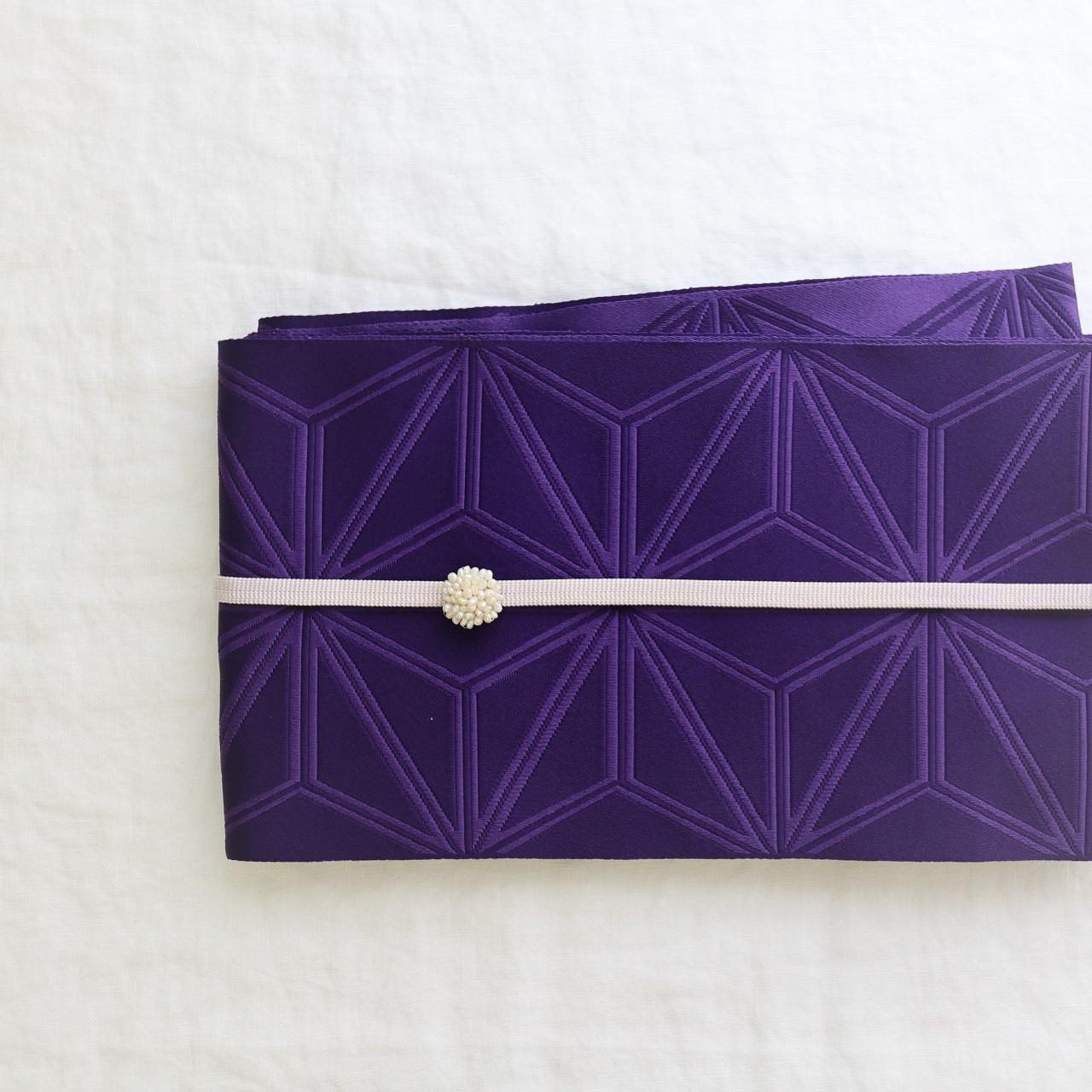 【ゆかた用 半巾帯】 紫色 麻の葉