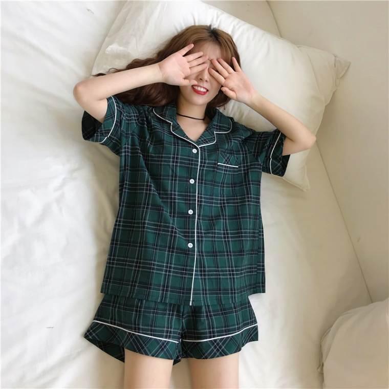 【送料無料】定番の可愛さ ♡ 2点セット セットアップ リラックス チェック柄 半袖 ショートパンツ パジャマ ルームウェア
