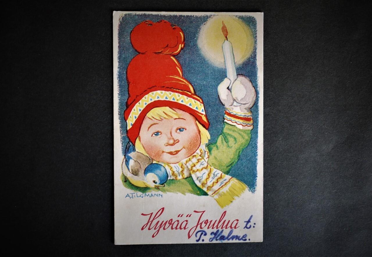 ヴィンテージ ポスト カード 北欧フィンランド 絵葉書 ろうそくの女の子
