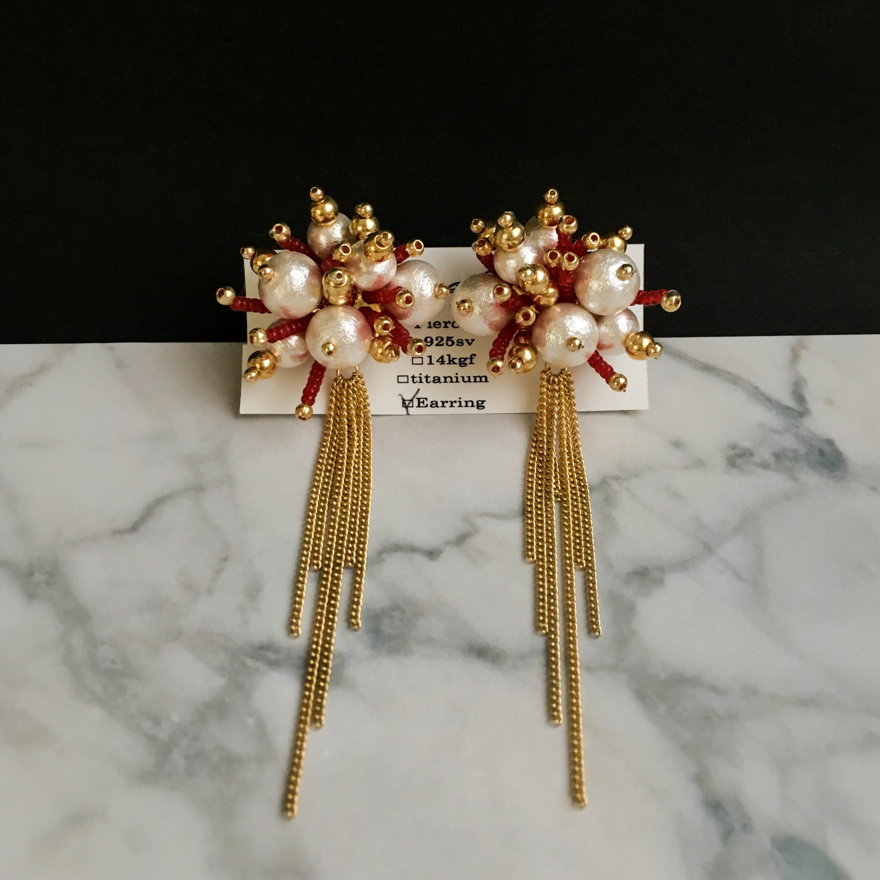E-24 pierce/earring(gold×red)