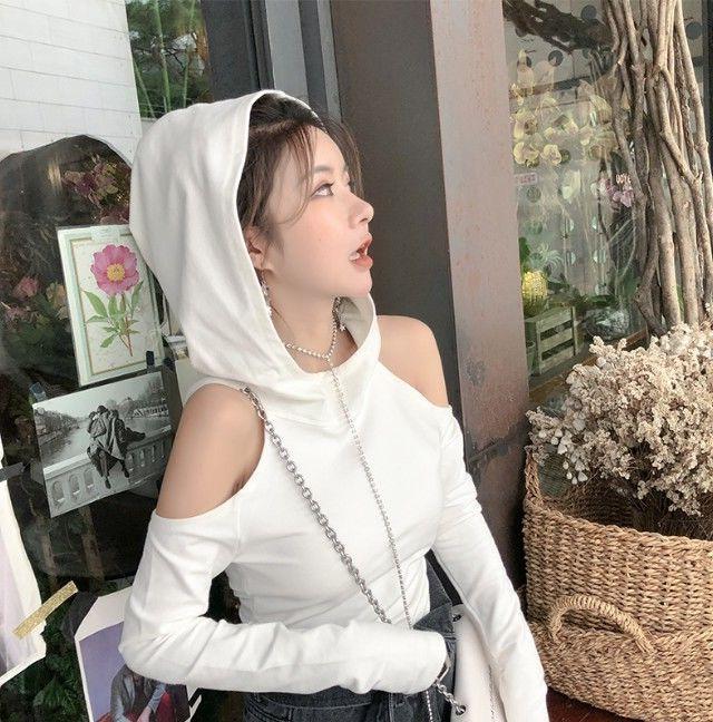 【tops】肩見せファッション無地絶対流行フード付きパーカー24003922