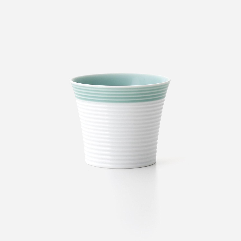 青磁白彩 ロックカップ